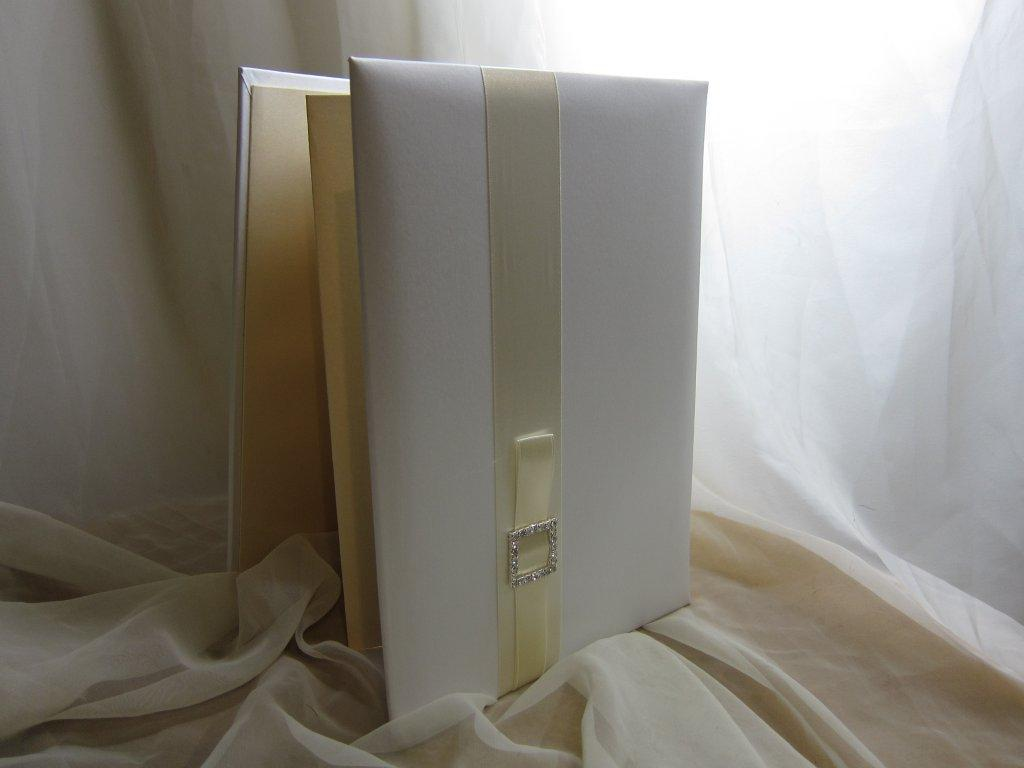 Ivory Portrait Guest Book with Buckle