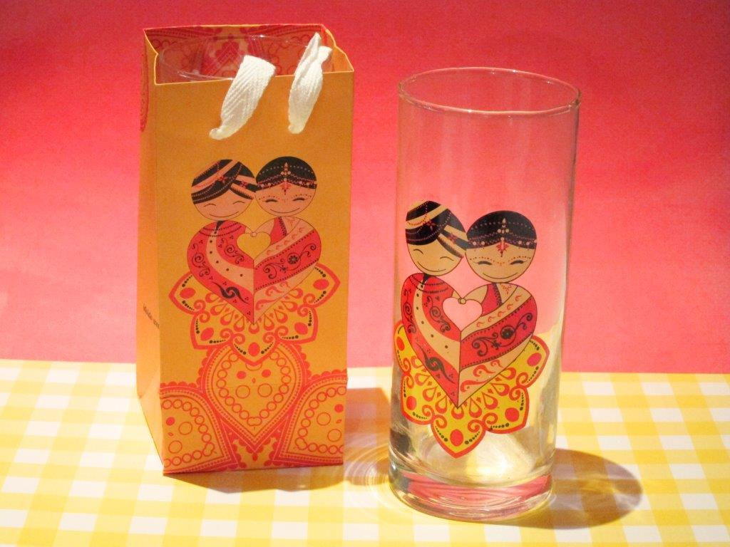 Indian Couple Glass Tumbler
