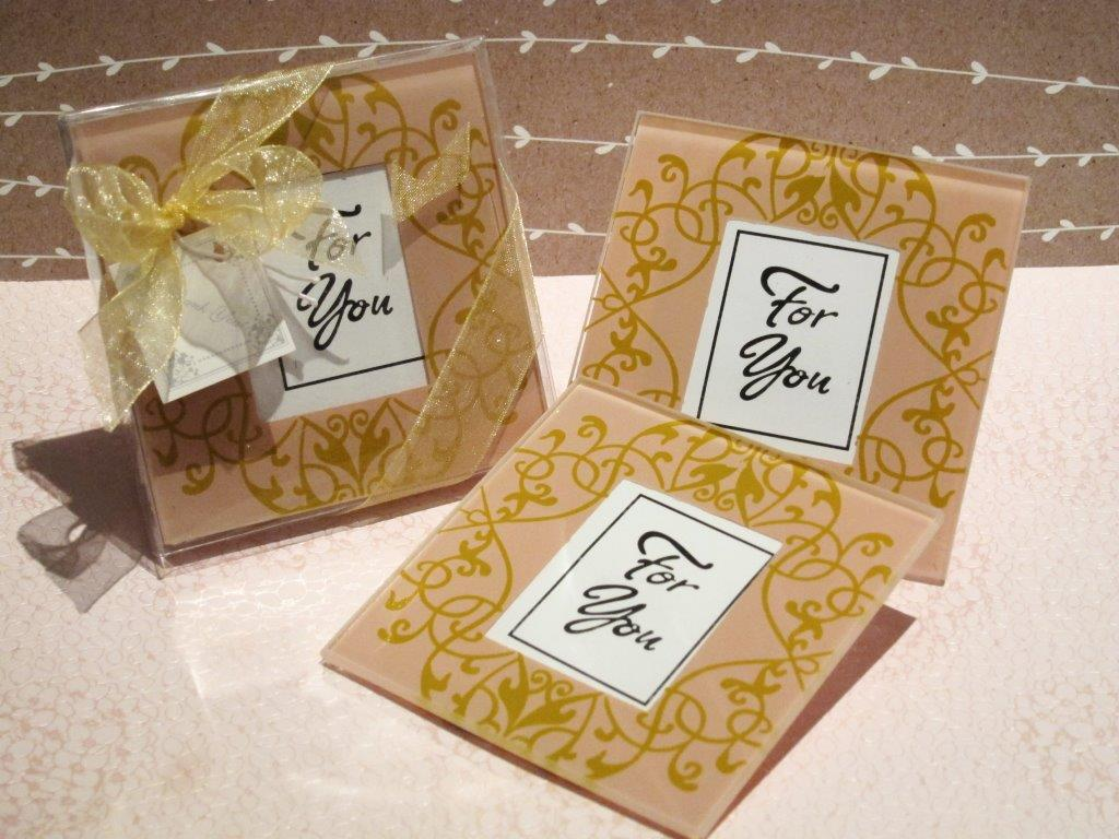 Golden Brocade Glass Photo Coaster