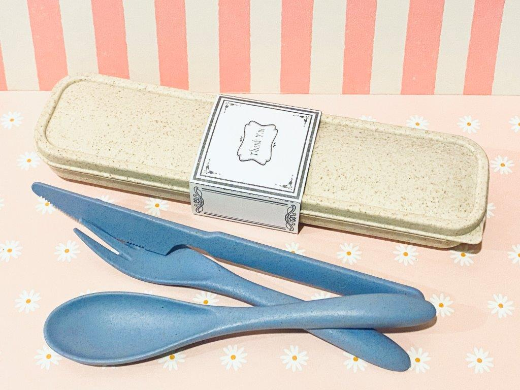 Wheat Cutlery Set (Pink / Blue)