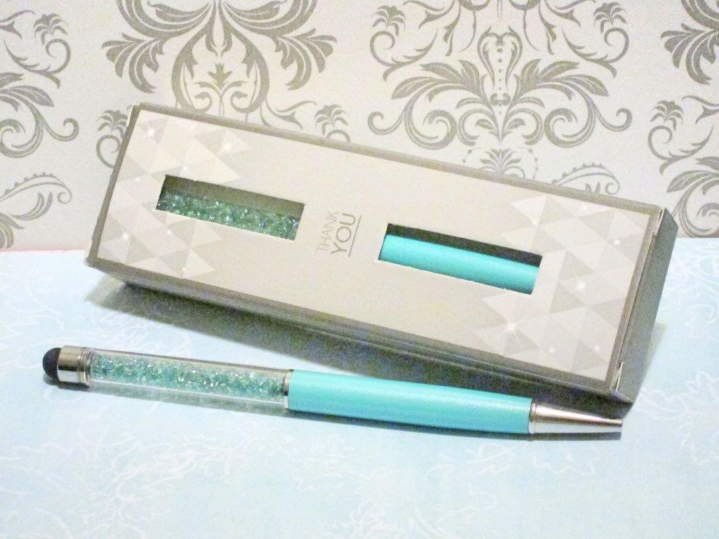 Glitter Blue Crystal Stylus Pen